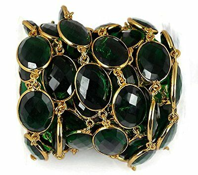 1 Ft Emerald Hydro Faceted Oval Continues Connector Chain 24k Gold Plated 14X16