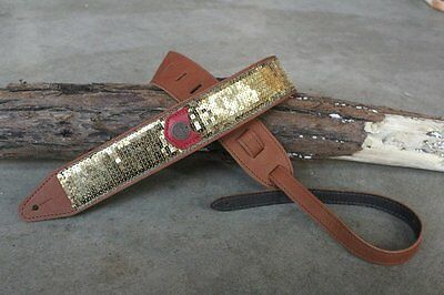 Copperpeace Glovely Gold Sequin Leather Guitar Strap