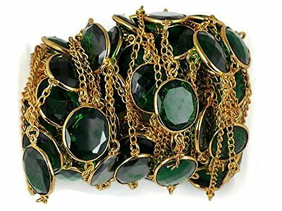 1 Foot Emerald Facetd Hydro Round Connector Frill Chain 24k Gold Plated 14X16mm