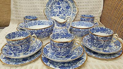 Stunning Victorian Blue And White Transfer 22 Piece Teaset