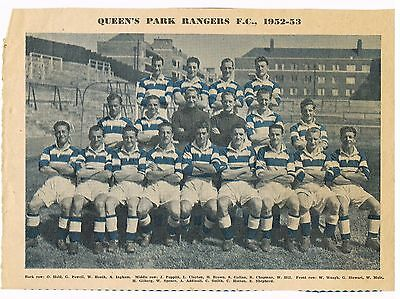 Queens Park Rangers F.C. 1952-53 paper colour photograph from football magazine.