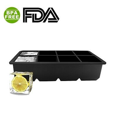 UK Stock High Quality 8-Cavity Large Ice Cube Tray Maker Mold Mould Black
