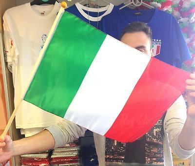 2 x Italy Large Hand Waving Flag Football Banner Wooden Stick Party, Celebration