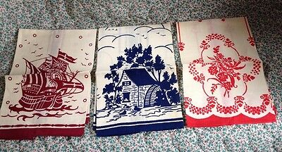 Vintage Linen Hand Guest Towels 3 Different Designs 1950's Super Lovely!!