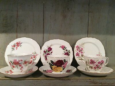 Vintage Mixed Mismatched China 3 Trios Cups Saucers Side Plates Pink Floral
