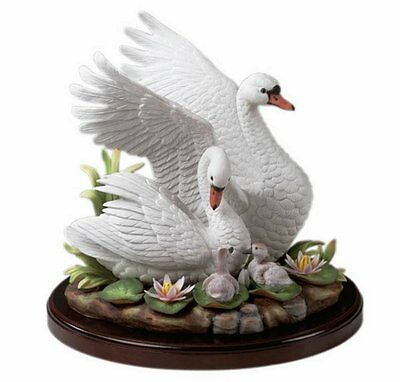 Andrea by Sadek White Mute Swan Family Porcelain Figurine LTD-20 (RETIRED)