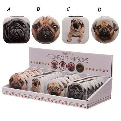 Pugs & Kisses Compact Mirror Various Designs Available Easy Handbag Size