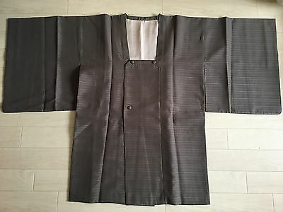 Japanese Vintage Kimono,MICHIYUKI,SILK, Silky Gray, Good condition K052803