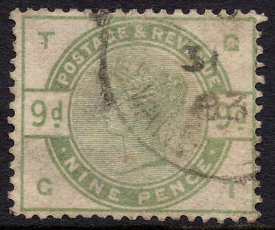 GB QV 1884 SG195 9d Dull Green Letters GT Good Used CDS