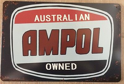 AMPOL GARAGE Tin Metal Sign Rustic Look MAN CAVE Brand New AU SELLER