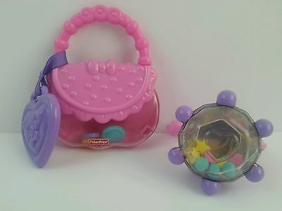 Fisher Price Brilliant Basics Diamond Ring Baby 1st Purse Rattle Teether Toy Lot