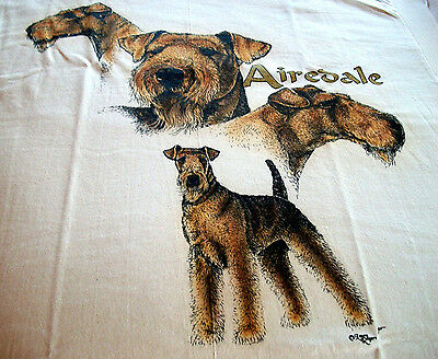 "Airedale Terrier T-shirt  "" White "" 2XL ( 50 ~ 52 )"
