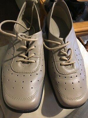 Hotter Uk 6.5 Std Clover Taupe Blue Leather Lace Up Shoes