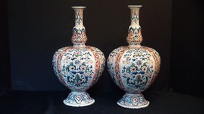 A Lovely Unusual Shaped Pair Of Dutch Delft Vases