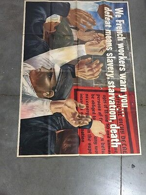 """WWII war poster We French Workers."""" 1942 Ben Shahn. Small Tears/folded"""