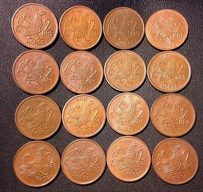 Vintage Norway Coin Lot - 2 Ore - MOOR HEN SERIES - 16 Great Coins - Lot #J17