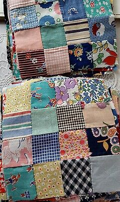 80 Antique Vintage hand stitched squares 1910-1930? xtra pieces History of maker