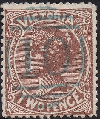 VICTORIA 2d Brown with p/m BN 10 of 'WARRNAMBOOL, In Blue ink