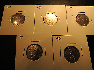 1927 1928 1929 1930 1931 Canada .05 Five Cents Nickel George V Lot Of 5 Coins