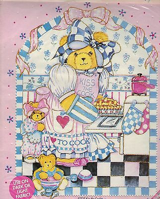 Aunt Martha's Bears Book 1 & Kiss The Cook IRON ON TRANSFER Painting PATTERN
