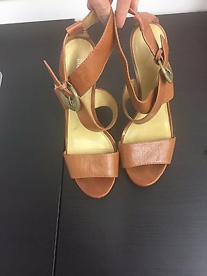 NINE WEST womens brown ankle strap high hell sandals  US 9M