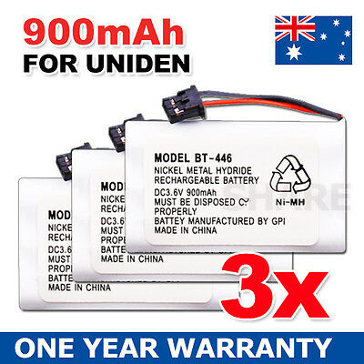 OZ for Uniden Cordless Phone Battery BT-446 BT-909 BT-750 NiMH 3.6V 900mAh 3PCS