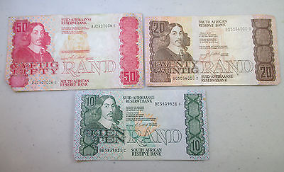 South Africa Notes - 10 Rand, 20 Rand, 50 Rand - Lot M2