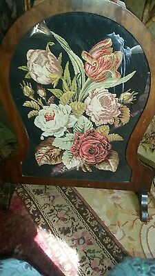 antique beautiful mahogany fire screen petit point