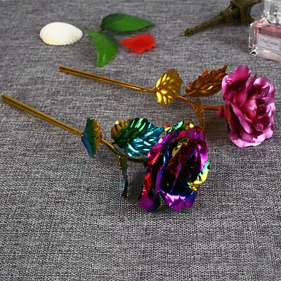 Romantic 24K Gilded Golden Rose Flower Wedding Festive Party Supplies Gifts