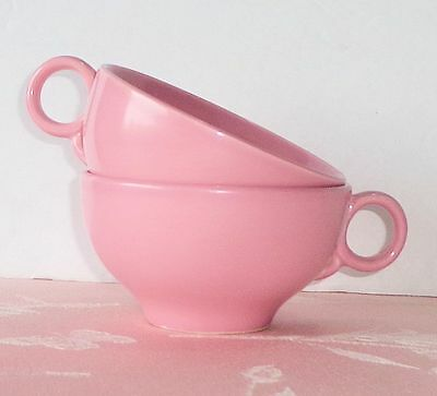 Vintage Universal Potteries BALLERINA Pink 2 Cups Solid Color Round Handle Nice