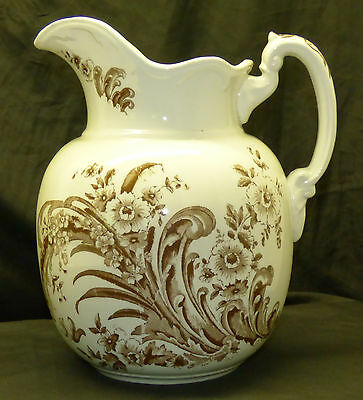 "Antique Aesthetic White Ironstone Floral Botanical Transferware 11"" Wash Pitcher"