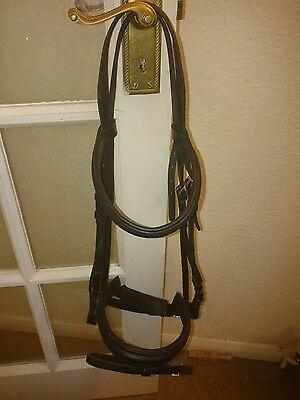 Gallop full size black English leather crank padded dressage bridle