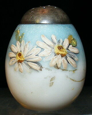 Mt Washington upright egg shaker with white Daisy decoration EAPG