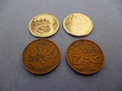 Canadian Two 1952 One Cent Coins &two 2001 10 Cent Coins