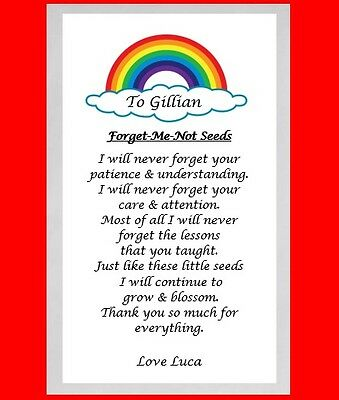 Personalised Forget Me Not Seeds End Of Term Thank You Xmas Gift School Teacher