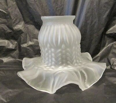 Vintage Fancy Frosted Ruffled Bell Shaped Chandelier Glass Lamp Shade LQQK!