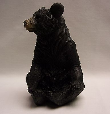 Black Bear Sitting 2 Paws Up Figurine Rustic Home/Cabin Decor (NAQ)