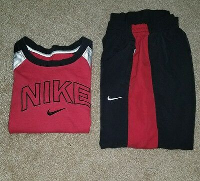 Boys Nike Red spell out BIG LOGO Shirt Pants Lot Athletic Outfit XS Size 7
