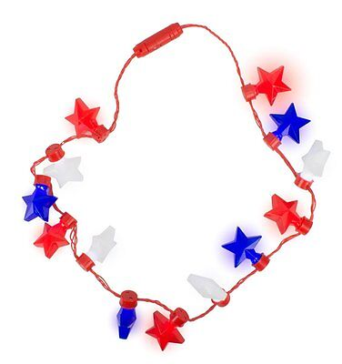 Patriotic Fourth of July USA Flashing Light Up Star Necklace, Red/White/Blue,