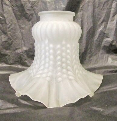 Vintage Frosted Ruffled Bell Shaped Chandelier Glass Lamp Shade LQQK!