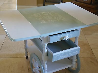 Small Table, Tea Cart, Bar Cart, Coffee Cart, French Tea Cart Makeover