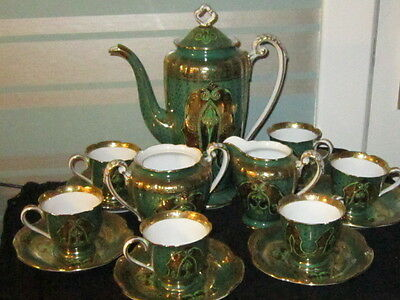 **Gorgeous** Vintage Green & Gold Noritake 15 Piece Coffee Set