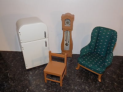MADELINE Old House in Paris Dollhouse KITCHEN FURNITURE frig chair clock chair
