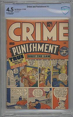 Crime and Punishment # 1 CBCS 4.5 VG+ OW/W 1948 Lev Gleason HTF LIKE CGC