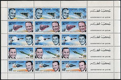 Space Raumfahrt 1966 Qatar 269-73 Sheet Double Overprint New Currency MNH/694