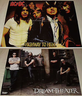 AC/DC - Highway To Hell / Dream Theater band RARE big double side Poster