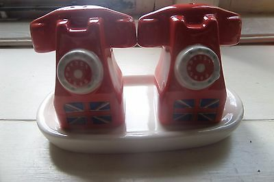 NOVALTY PEPPER AND SALT CERAMIC POTS red vintage style TELEPHONES & tray