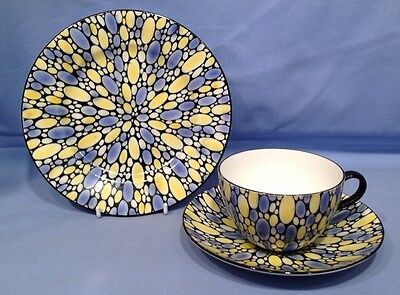 Shelley Trio Bute Shape Blue and Yellow Bubbles Pt No11182 STUNNING