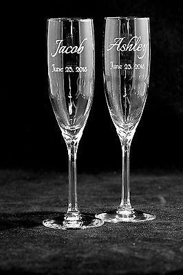 Single Name Style Personalized Wedding Toasting Glasses, Flutes