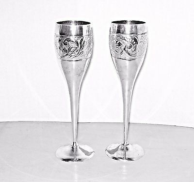 2 Wedding Silver Plate Champagne FLUTES International Silver Co.